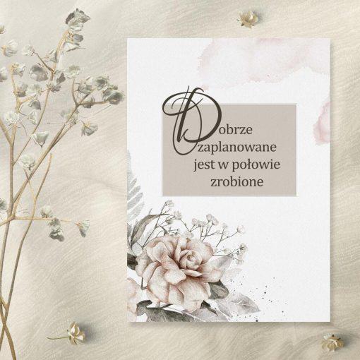 Plakat z różą i maksymą życiową