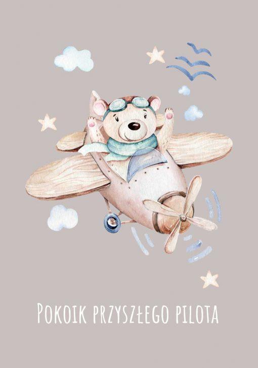 Plakat dla przedszkolaka - Miś pilot