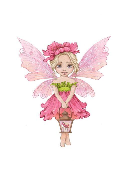Plakat z różowym elfem dla dzieci