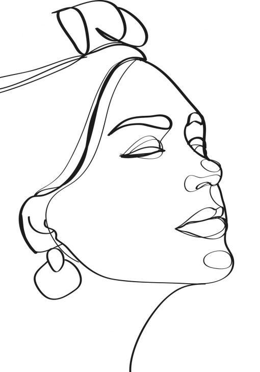 Artystyczny plakat line art z twarzą kobiety do sypialni