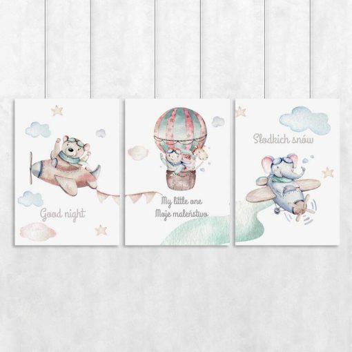 Komplet trzech plakatów z gwiazdkami i napisami do pokoju dziecinnego