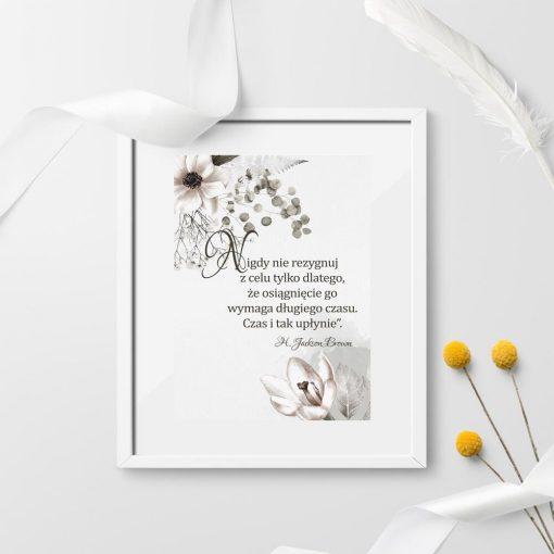 Plakaty z sentencjami i kwiatami