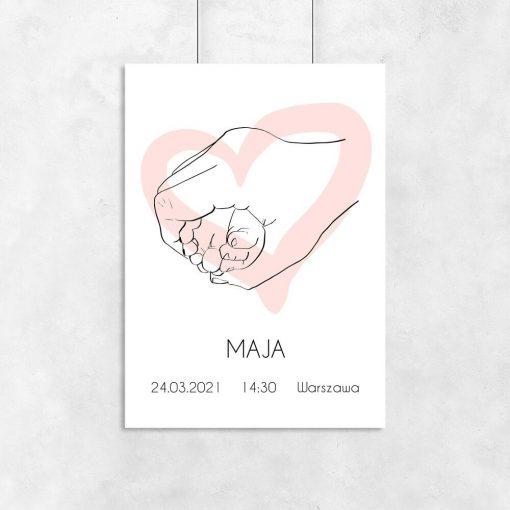 Plakat dziewczęcy z różowym serduszkiem line art