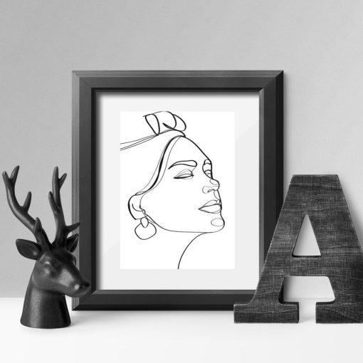 Artystyczny plakat line art z egzotyczną twarzą