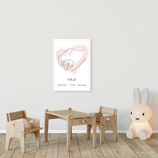 Plakat z różowym sercem line art dla dziewczynki
