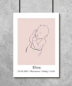Różowy plakat personalizowany dziecięcy line art dla dziewczynki