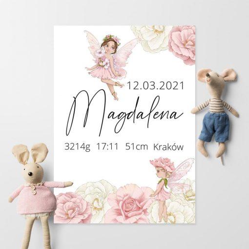 Plakat z metryczką noworodka - personalizowana