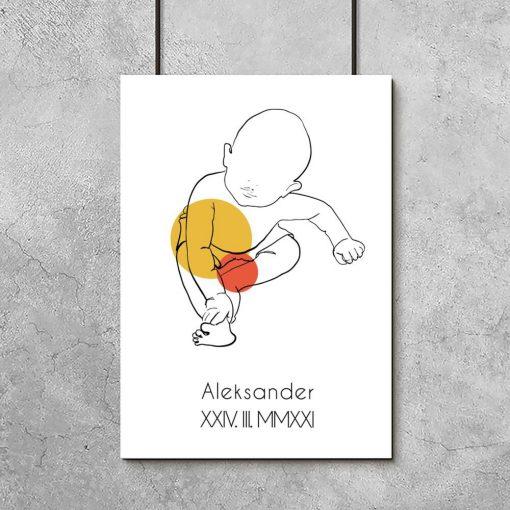 Artystyczny plakat do pokoju dziecinnego z metryczką dla chłopca