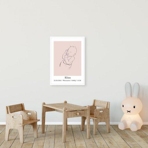 Różowy plakat personalizowany do dziecinnego pokoju - Line art