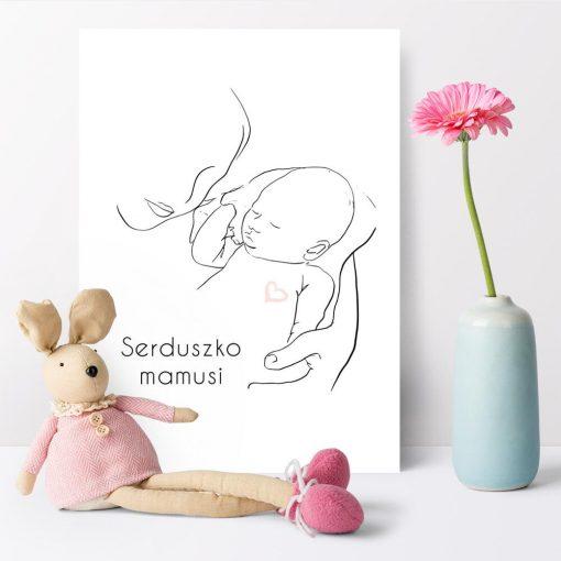 Minimalistyczny plakat dla dzieci z serduszkiem nad łóżeczko niemowlaka