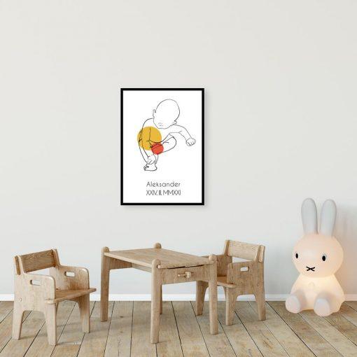 Artystyczny plakat do pokoju dziecinnego z metryczką w pomarańczowym kolorze
