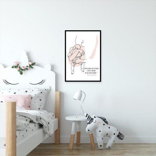 Plakat z sentencją dla mamy do dekoracji pokoju dziecka