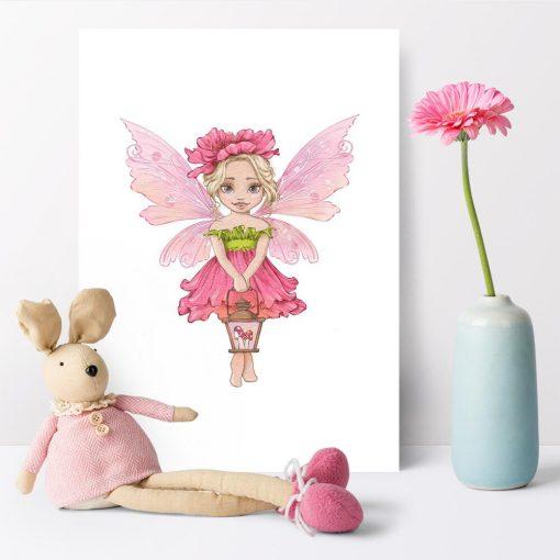 Plakat z różowym elfem do pokoju rodzeństwa