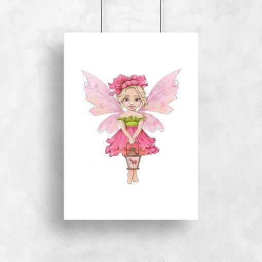 Plakat z różowym elfem dla dziewczynki