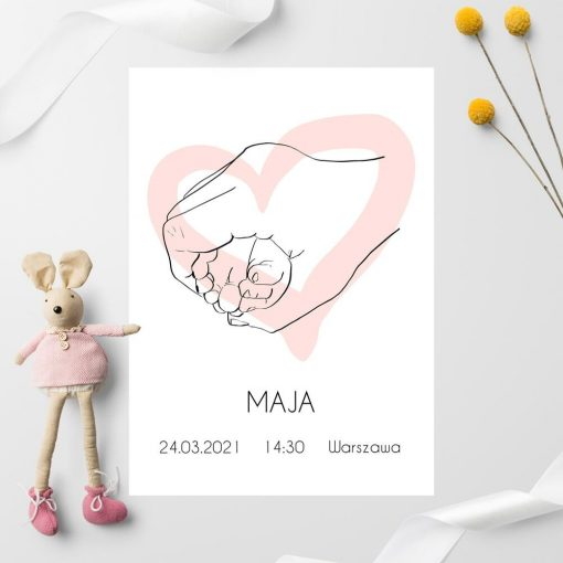 Plakat z różowym sercem line art do pokoju dziewczynki