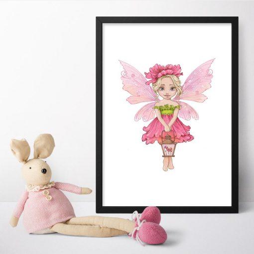 Plakat z różowym elfem dla przedszkolaka