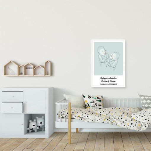 Nowoczesny plakat dziecięcy line art do pokoju rodzeństwa