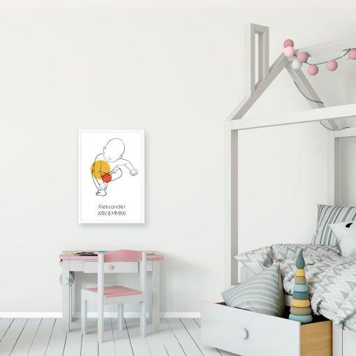 Artystyczny plakat do pokoju dziecinnego z metryczką dla przedszkolaka