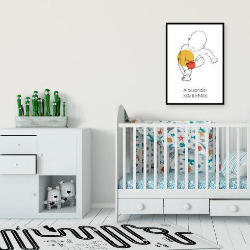 Artystyczny plakat do pokoju dziecinnego z metryczką dla niemowlaka