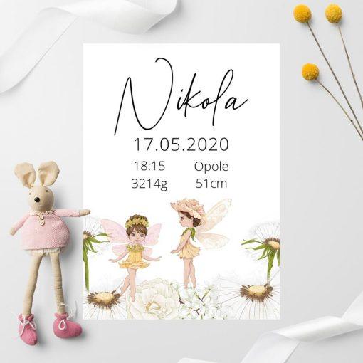 Plakat z leśnymi duszkami i plakietka dla niemowlaka