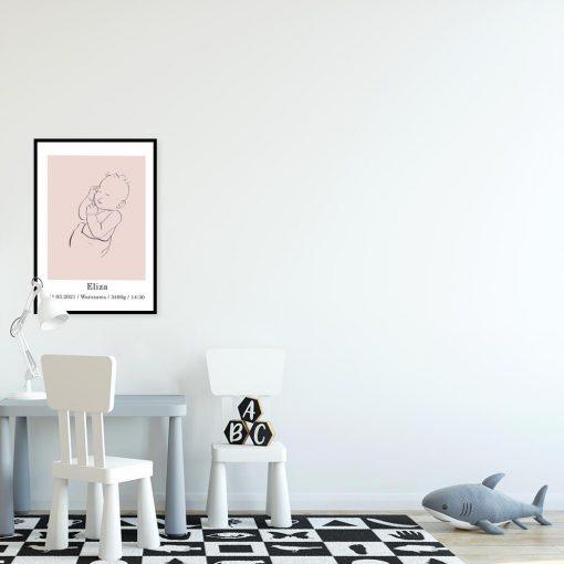 Różowy plakat personalizowany na prezent dla dziecka - line art