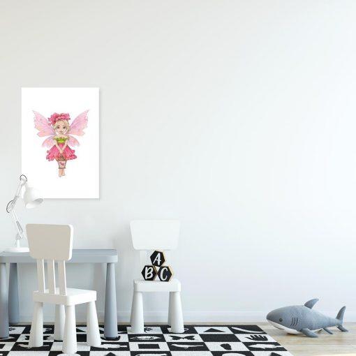 Plakat z różowym elfem nad łóżeczko dziecka