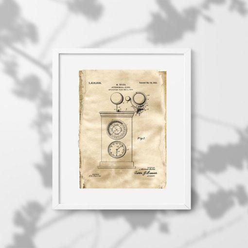 Astronomiczny zegar - Plakat z patentem do biura