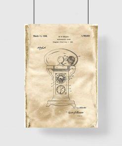 Plakat z projektem starego zegara w stylu retro