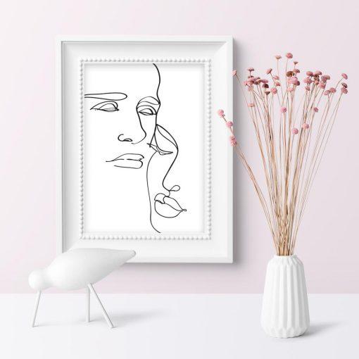 Plakat kobieta i mężczyzna - szkic twarzy