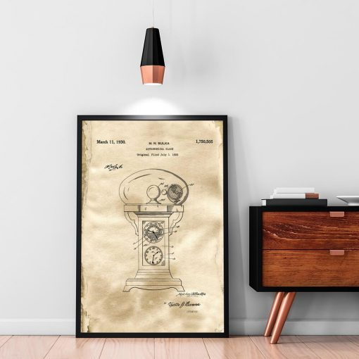 Plakat z projektem starego zegara do biura