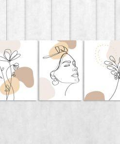 Tryptyk plakatowy ze szkicem twarzy