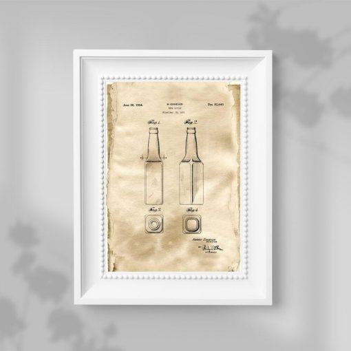 Plakat w beżowym kolorze patent na butelkę