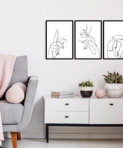 Trzy plakaty z serii minimalistyczne ze szkicami