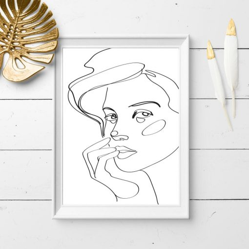 Plakat z motywem twarzy kobiety do dekoracji salonu