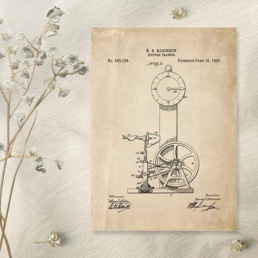 Plakat z projektem rowerka treningowego