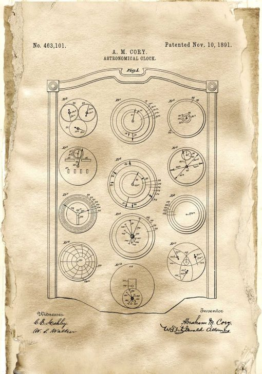 Poster z patentem na zegar w sepii