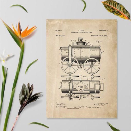 Plakat z wozem do transportu piwa - projekt z roku 1894