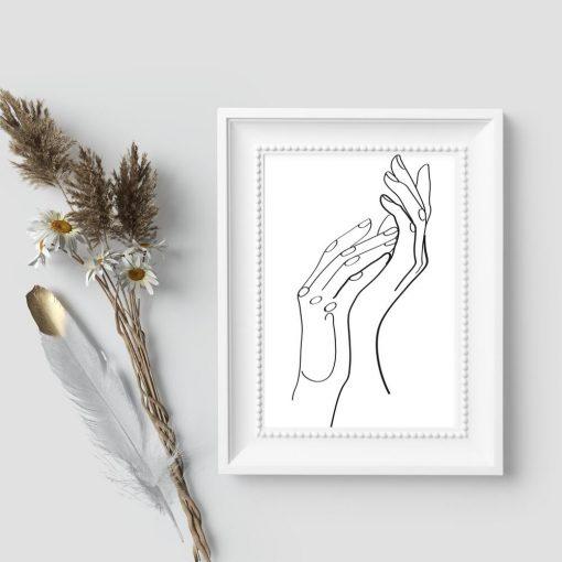 Plakat ze szkicem dłoni - czarno-biały