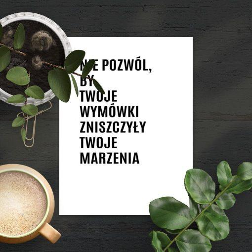 Plakat z typografią do pokoju nastolatka