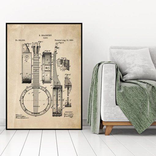 BPlakat vintage z rysunkiem banjo do salonu