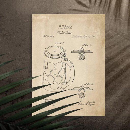 Plakat z patentem na akcesoria do piwa