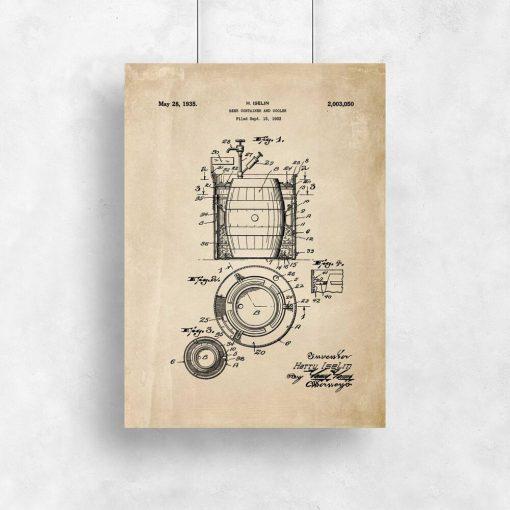 Beżowy plakat z atestem do produkcji beczek