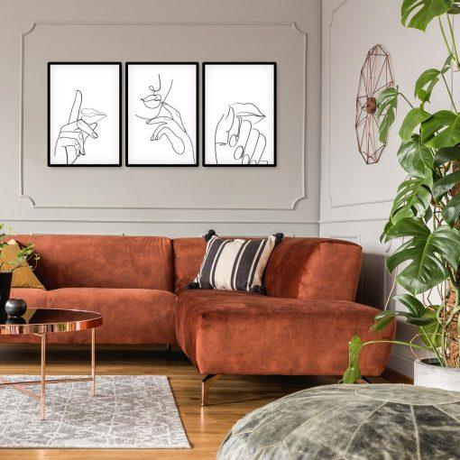 Trzy plakaty dla kobiety z rysunkami ust i dłoni