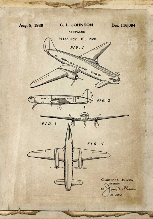 Plakat w sepii z samolotem
