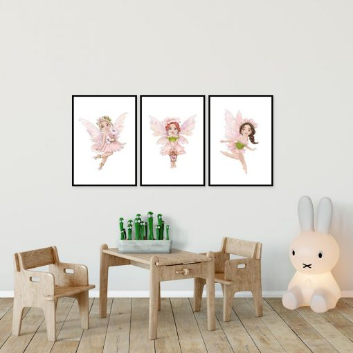 Trzy plakaty z wróżkami dla dzieci