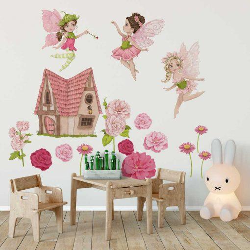 Naklejki dziecięce w kolorze różowym - Leśne wróżki