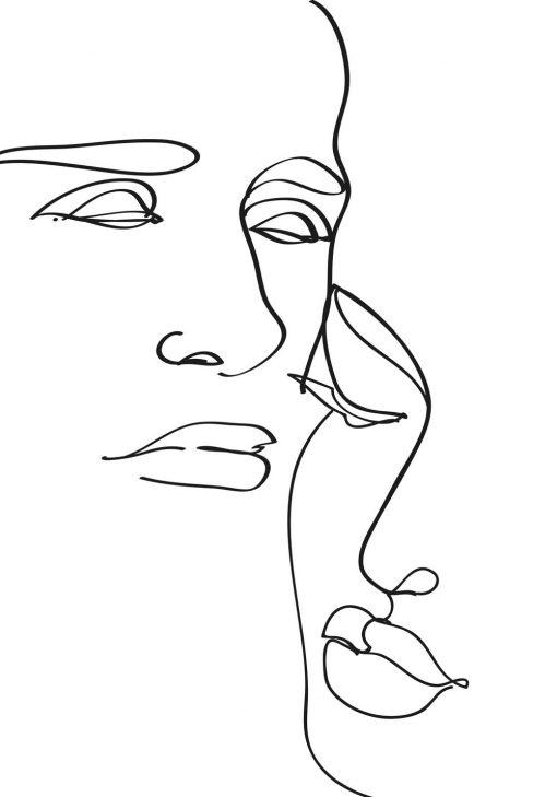 Plakat szkic twarzy w minimalistycznym stylu