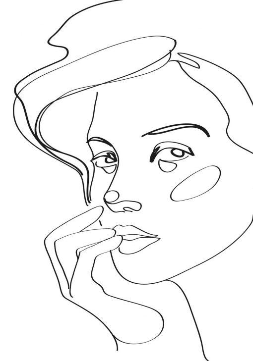 Plakat szkic kobiecej twarzy do ozdoby salonu