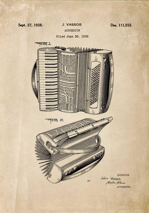 Plakat vintage z akordeonem - kolor brązowy