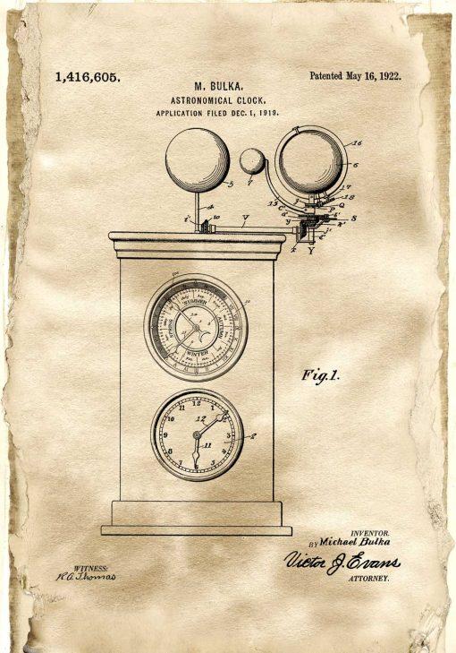 Astronomiczny zegar - Plakat z patentem do salonu